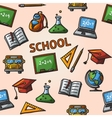 Seamless school handdrawn pattern vector image