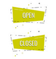 set ribbon banner with text open and closed for vector image