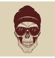 Skull with sunglasses and hat vector image vector image