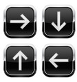 black buttons with arrows keys with chrome frame vector image
