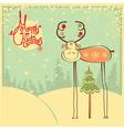 Vintage Christmas card with funny bull and snow vector image vector image
