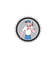 Builder Carpenter Holding Hammer Rosette Cartoon vector image