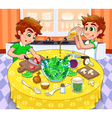 Twins are preparing a green salad vector image