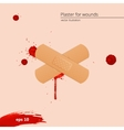 Blood drops and frame with medical plaster vector image