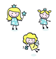 Doodle princess collection vector image