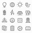 power symbol line icon set vector image