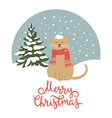 Christmas card cute snow-covered cat vector image vector image