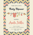 beautiful retro baby shower card template with vector image