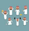 saudi arabian businessman in different poses set vector image vector image