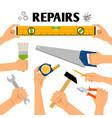 home repair tools in hands vector image