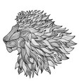 lion face isolated king animal patterned line vector image