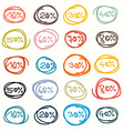 Colorful Hand Drawn Price Tags - Sale Labels vector image