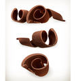 Chocolate shavings chocolates curl sweet food icon vector image