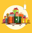 gift box flat design present boxes heap on retro vector image