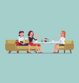 girls sitting in a cafe vector image