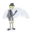 guy looking phone standing vector image