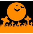 Orange moon cemetery and bats vector image