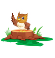 An owl on a stump vector image