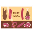 flat design restaurant meat butcher shop facade vector image vector image
