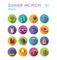 beach flat icon set summer vacation vector image
