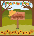 colorful poster festa junina in wooden fence with vector image