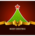 Christmas green tree and golden bow vector image