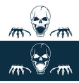 angry skull with hands vector image