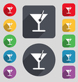 cocktail icon sign A set of 12 colored buttons and vector image