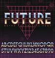 Shiny Chrome Alphabet in 80s Retro Futurism style vector image