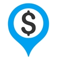 Bank Map Marker Flat Icon vector image