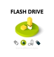 Flash drive icon in different style vector image vector image