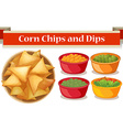 Corn chips and four kind of dips vector image