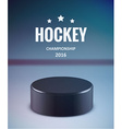 Hockey puck isolated on ice with blur vector image