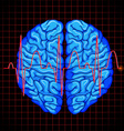 Human brain and brain graph on grids vector image vector image
