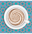 Coffee with milk full cup top view vector image