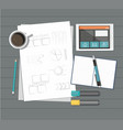 paper with ruler pencil pen coffee tablet and vector image