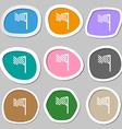 racing flag icon symbols Multicolored paper vector image
