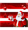 red christmas banners and santa claus vector image