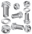 Stainless steel bolt and nut vector image vector image