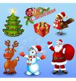 Set of design elements Christmas tree gift bullfin vector image