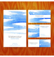 Business Set Template with Blue Watercolor vector image