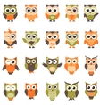 Funny owls and owlets set vector image