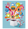 Gift Box with Gift Icons vector image