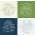 Line Design Compositions Set - City Lifestyle vector image