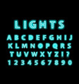 modern trendy blue neon alphabet on a black vector image