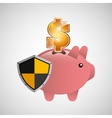 piggy banking safe shield protection vector image