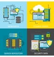 Square Datacenter Icon Set vector image