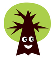 Green eco tree mascot isolated on white - vector image