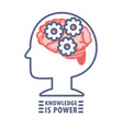 silhouette man with gears inside of brain vector image