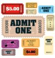 tickets: admit one  vector image vector image